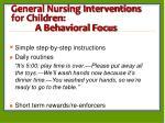 general nursing interventions for children a behavioral focus