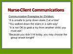 nurse client communications