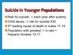 suicide in younger populations