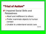 triad of autism