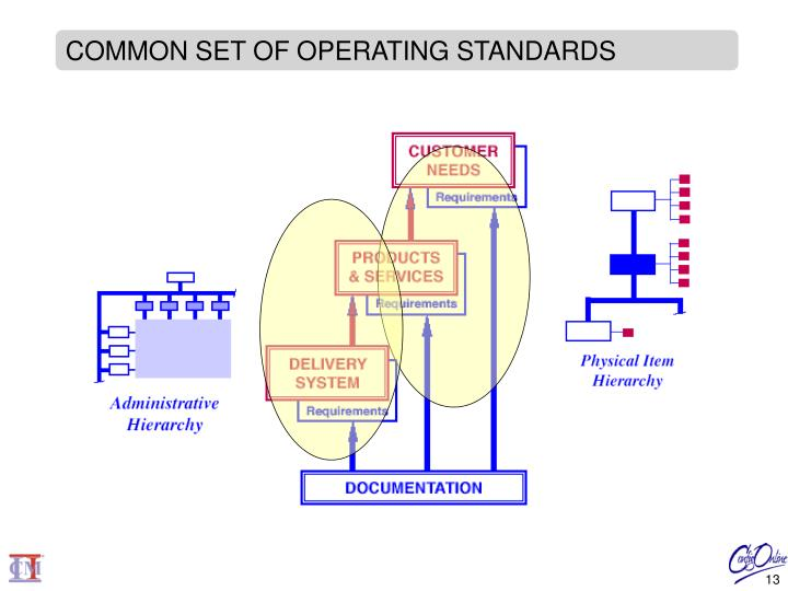 COMMON SET OF OPERATING STANDARDS