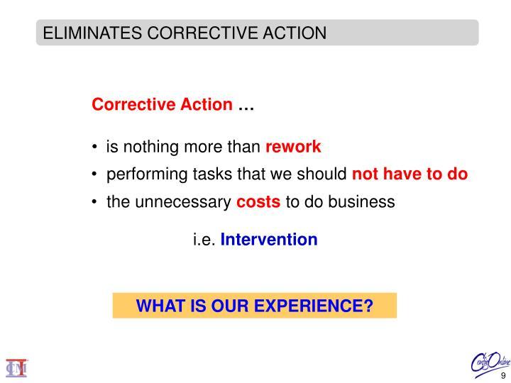 ELIMINATES CORRECTIVE ACTION
