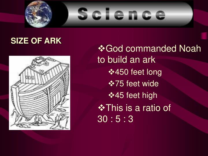 SIZE OF ARK