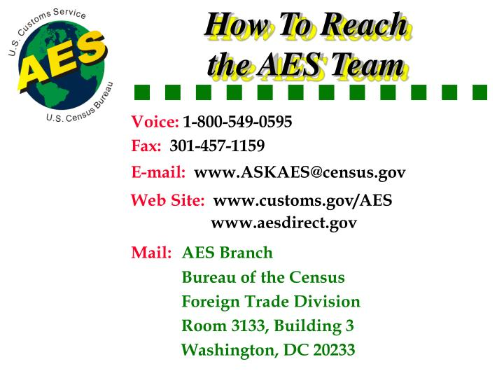 How To Reach the AES Team