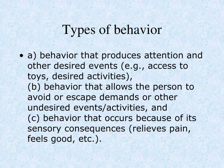 Types of behavior