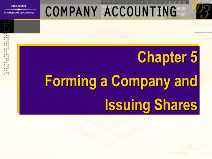 chapter 5 forming a company and issuing shares n.