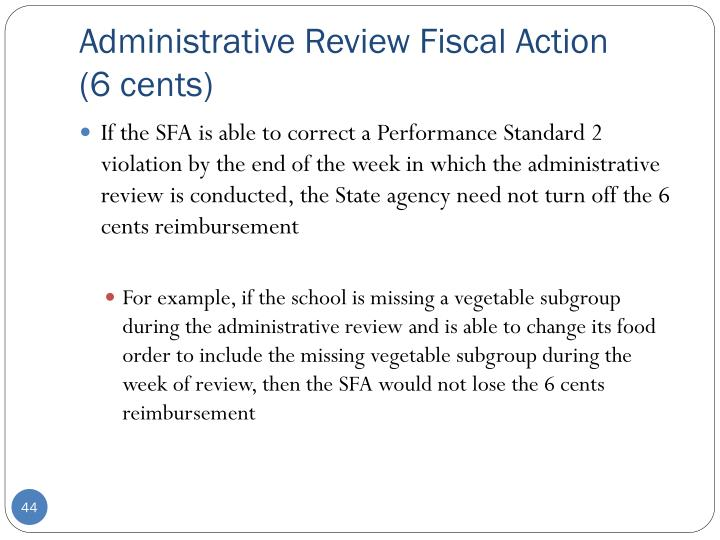 Administrative Review Fiscal Action