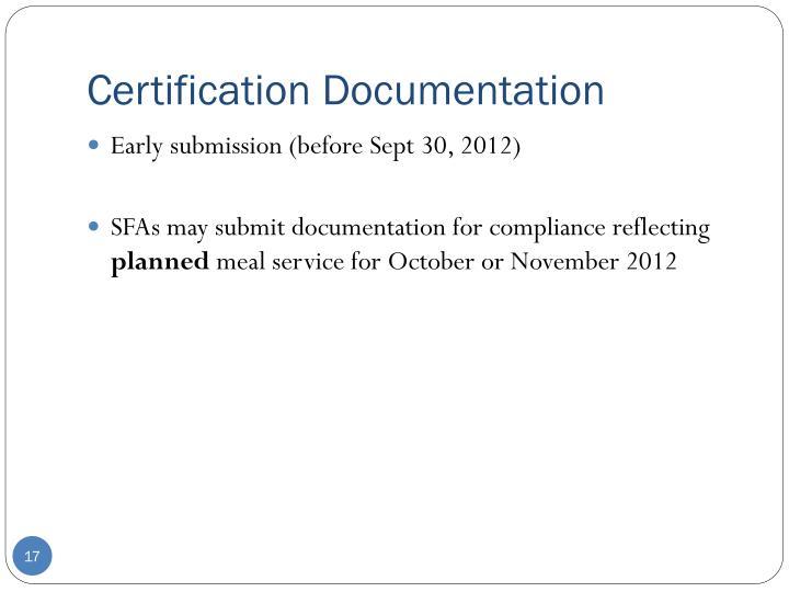 Certification Documentation