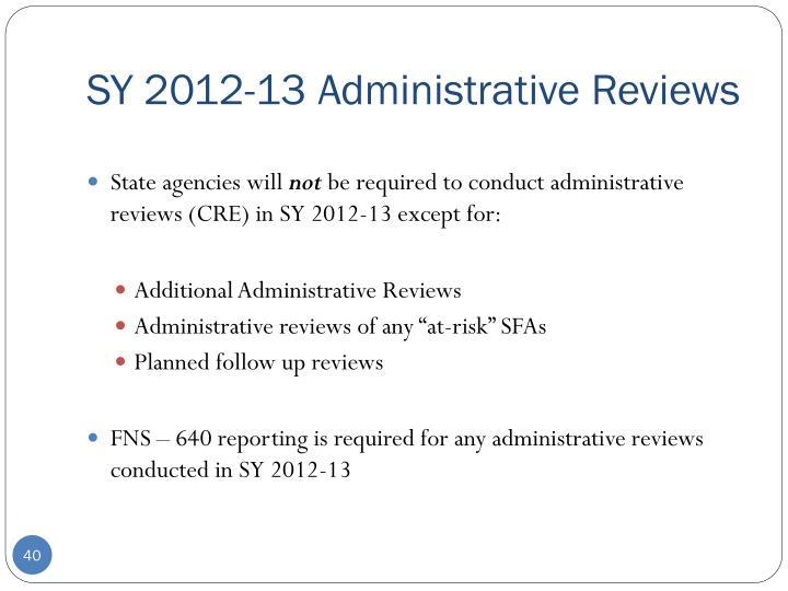 SY 2012-13 Administrative Reviews