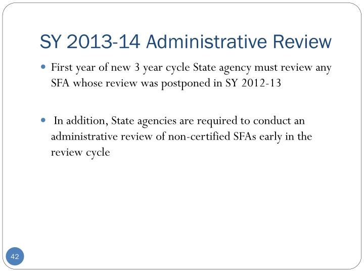 SY 2013-14 Administrative Review