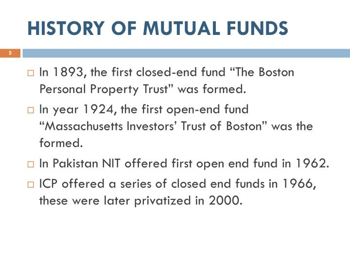 HISTORY OF MUTUAL FUNDS