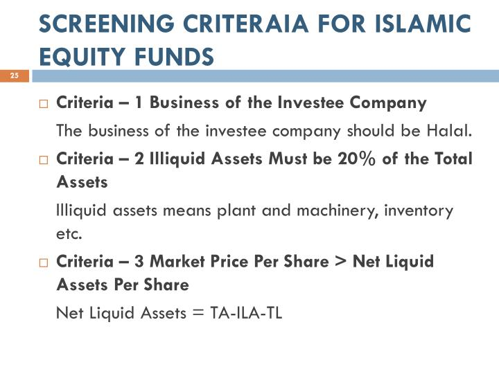 SCREENING CRITERAIA FOR ISLAMIC EQUITY FUNDS