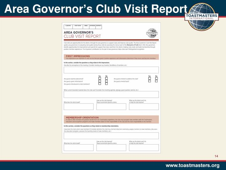 Area Governor's Club Visit Report