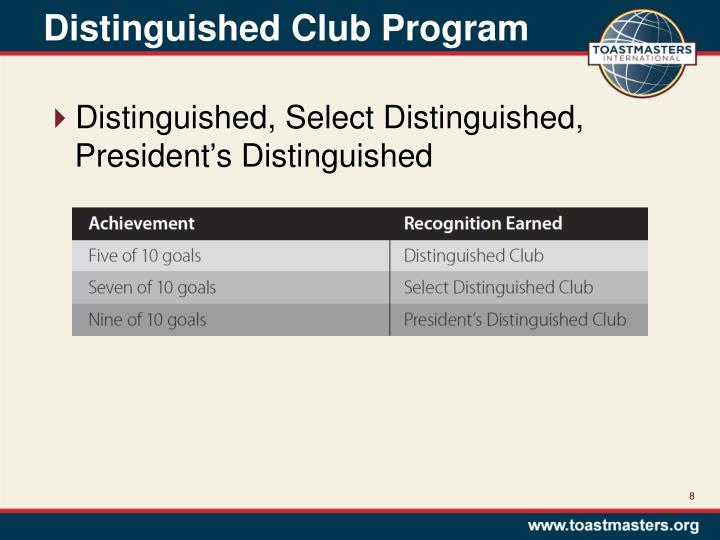 Distinguished Club Program