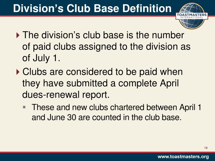 Division's Club Base Definition