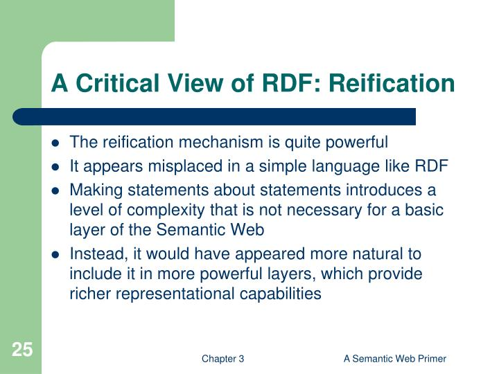 A Critical View of RDF: Reification
