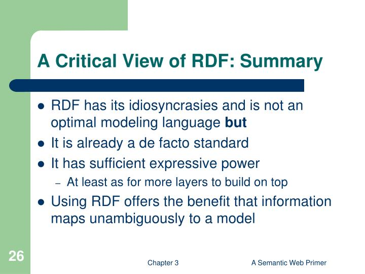 A Critical View of RDF: Summary