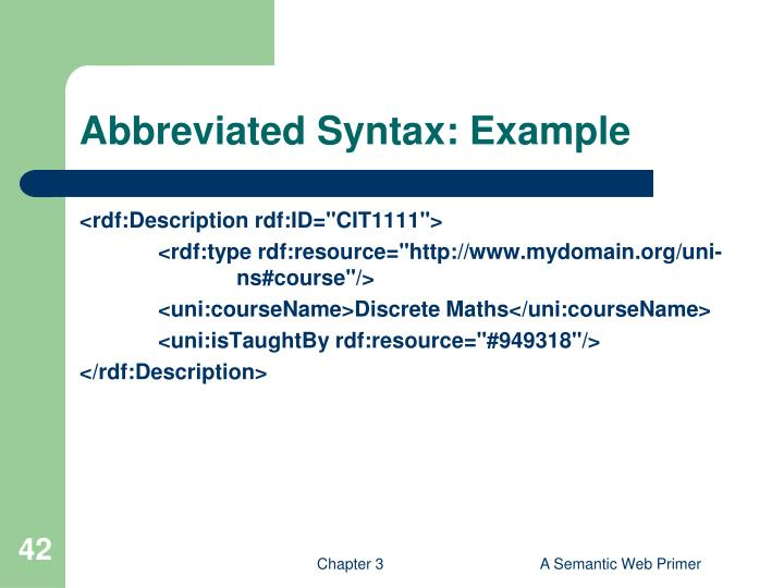 Abbreviated Syntax: Example