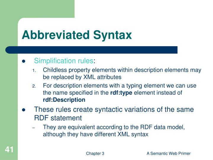 Abbreviated Syntax