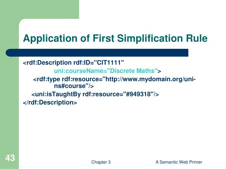Application of First Simplification Rule