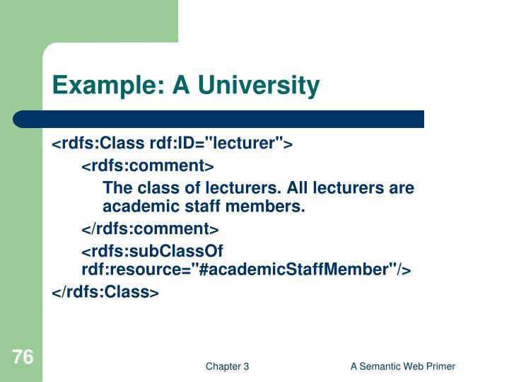 Example: A University