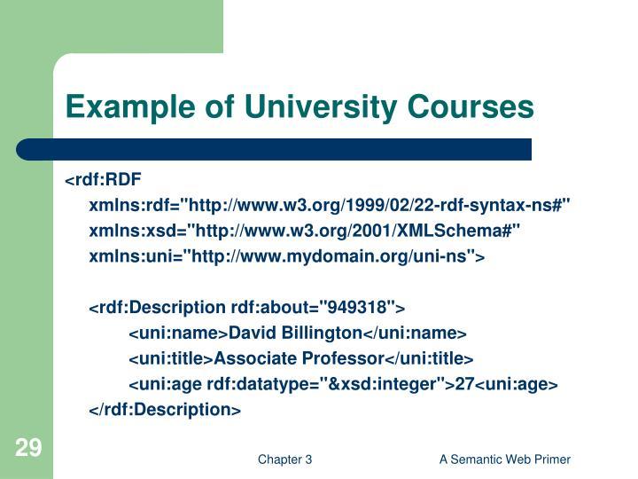 Example of University Courses