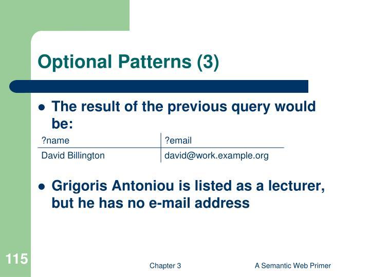 Optional Patterns (3)