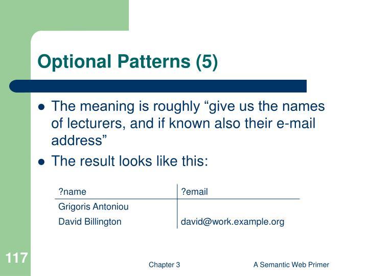 Optional Patterns (5)