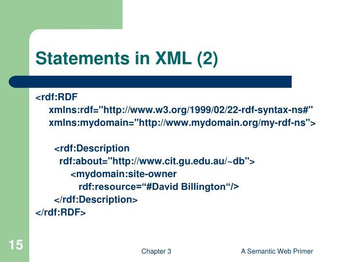 Statements in XML (2)