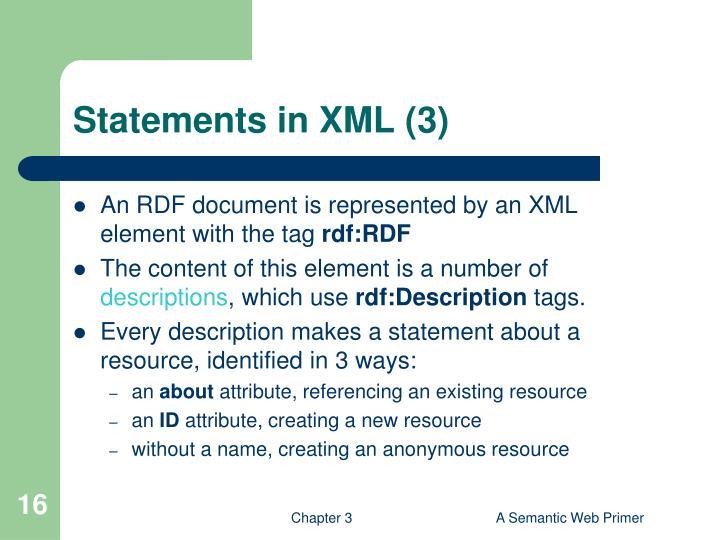Statements in XML (3)