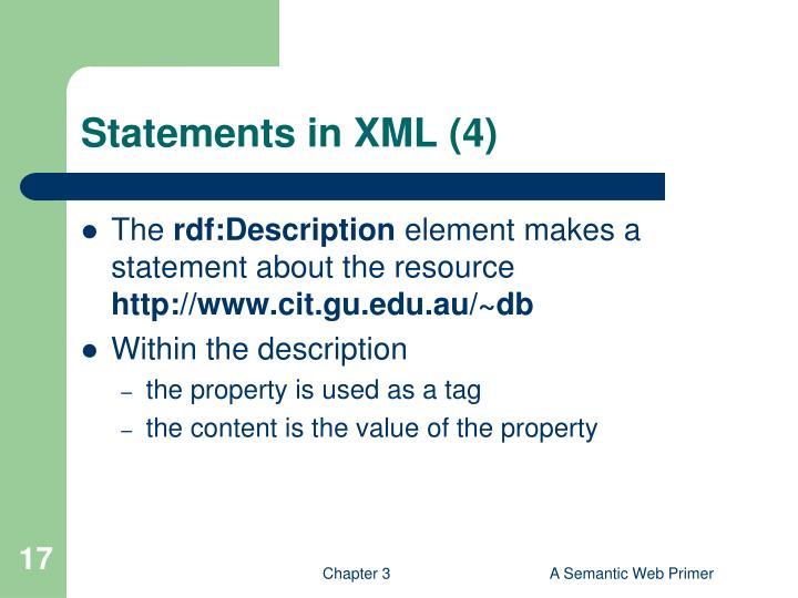 Statements in XML (4)