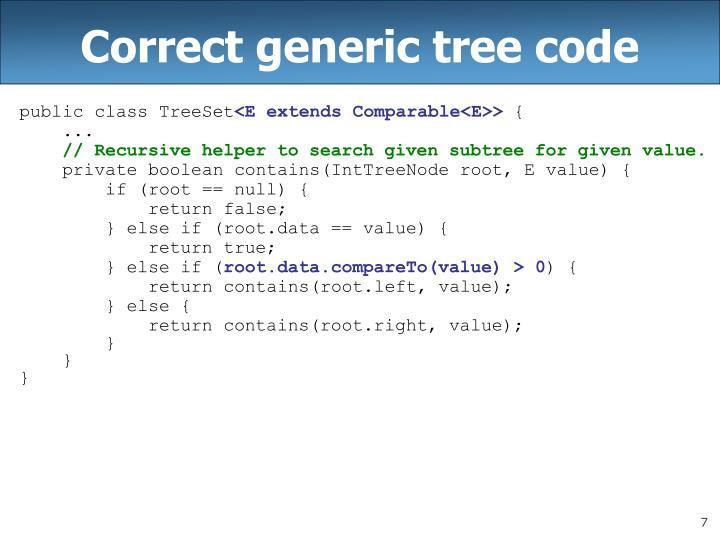 Correct generic tree code