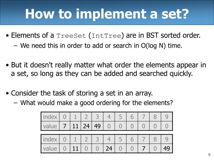 How to implement a set?