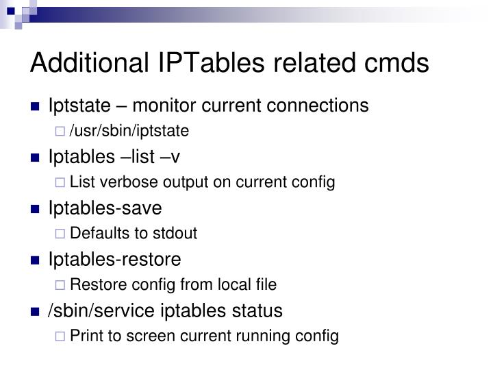 Additional IPTables related cmds
