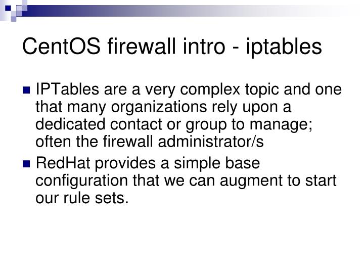 CentOS firewall intro - iptables