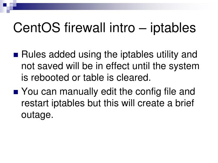 CentOS firewall intro – iptables