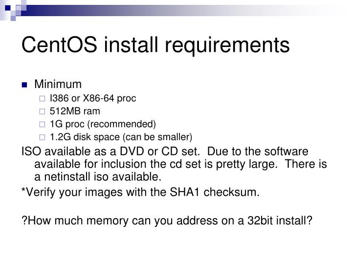 CentOS install requirements