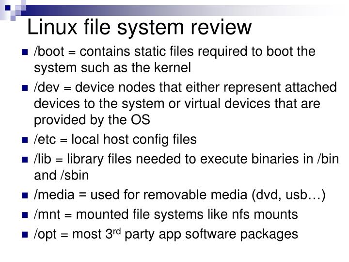 Linux file system review