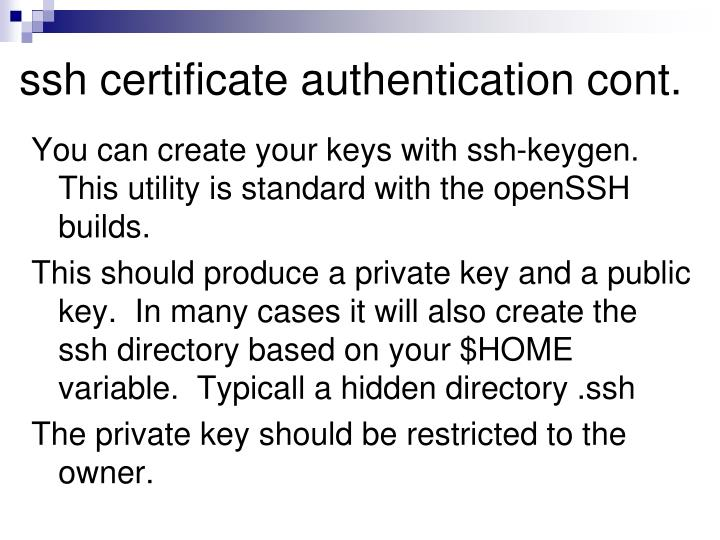 ssh certificate authentication cont.
