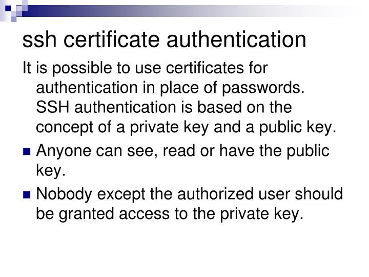 ssh certificate authentication