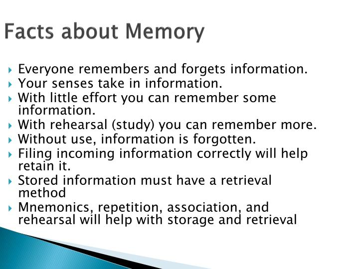 Facts about Memory