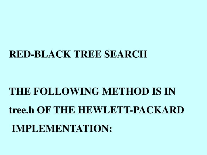 RED-BLACK TREE SEARCH