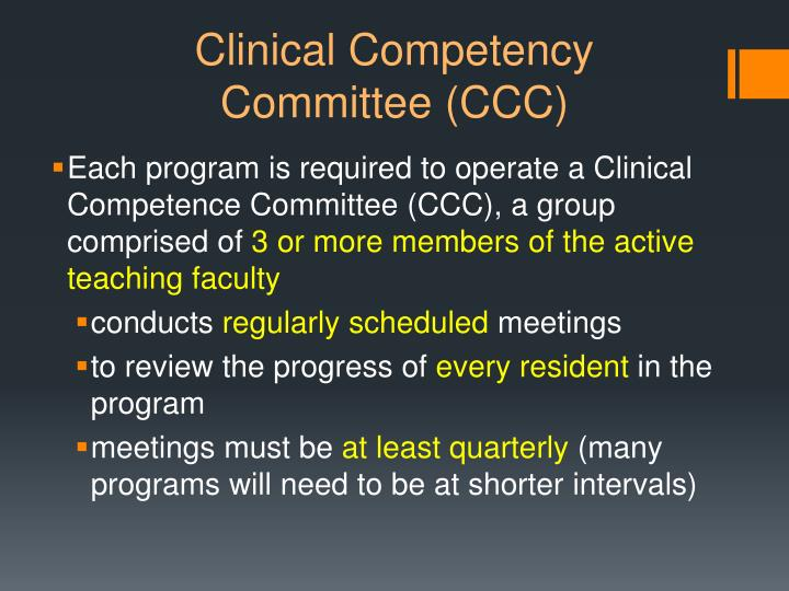 Clinical competency committee ccc