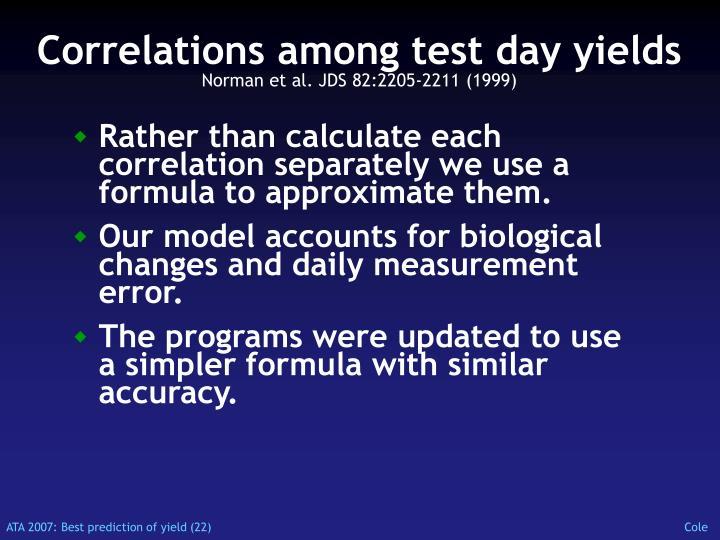 Correlations among test day yields