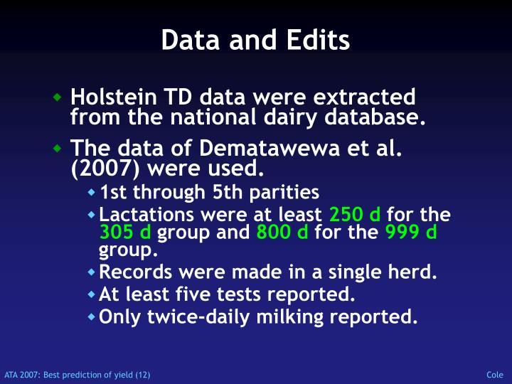 Data and Edits