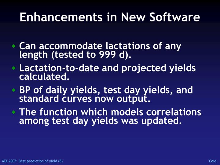 Enhancements in New Software