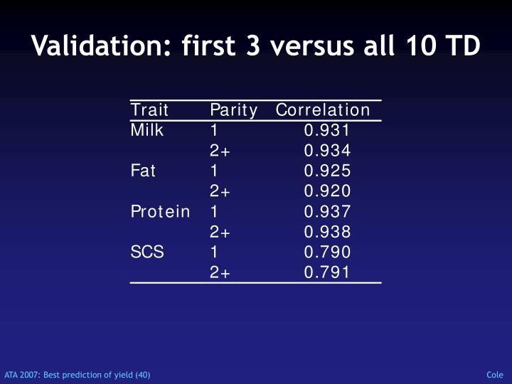 Validation: first 3 versus all 10 TD