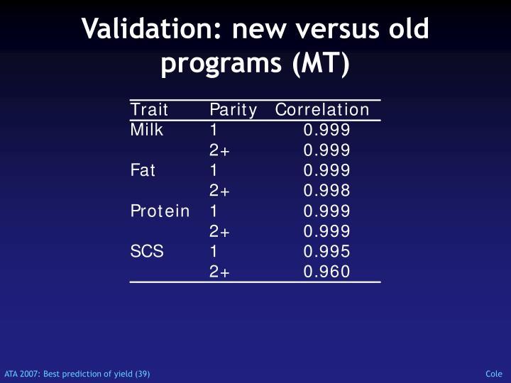 Validation: new versus old programs (MT)
