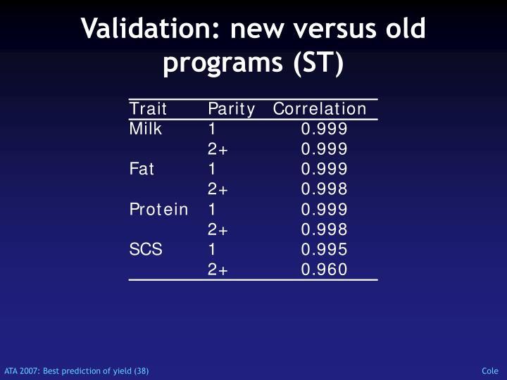 Validation: new versus old programs (ST)
