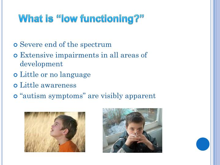 "What is ""low functioning?"""